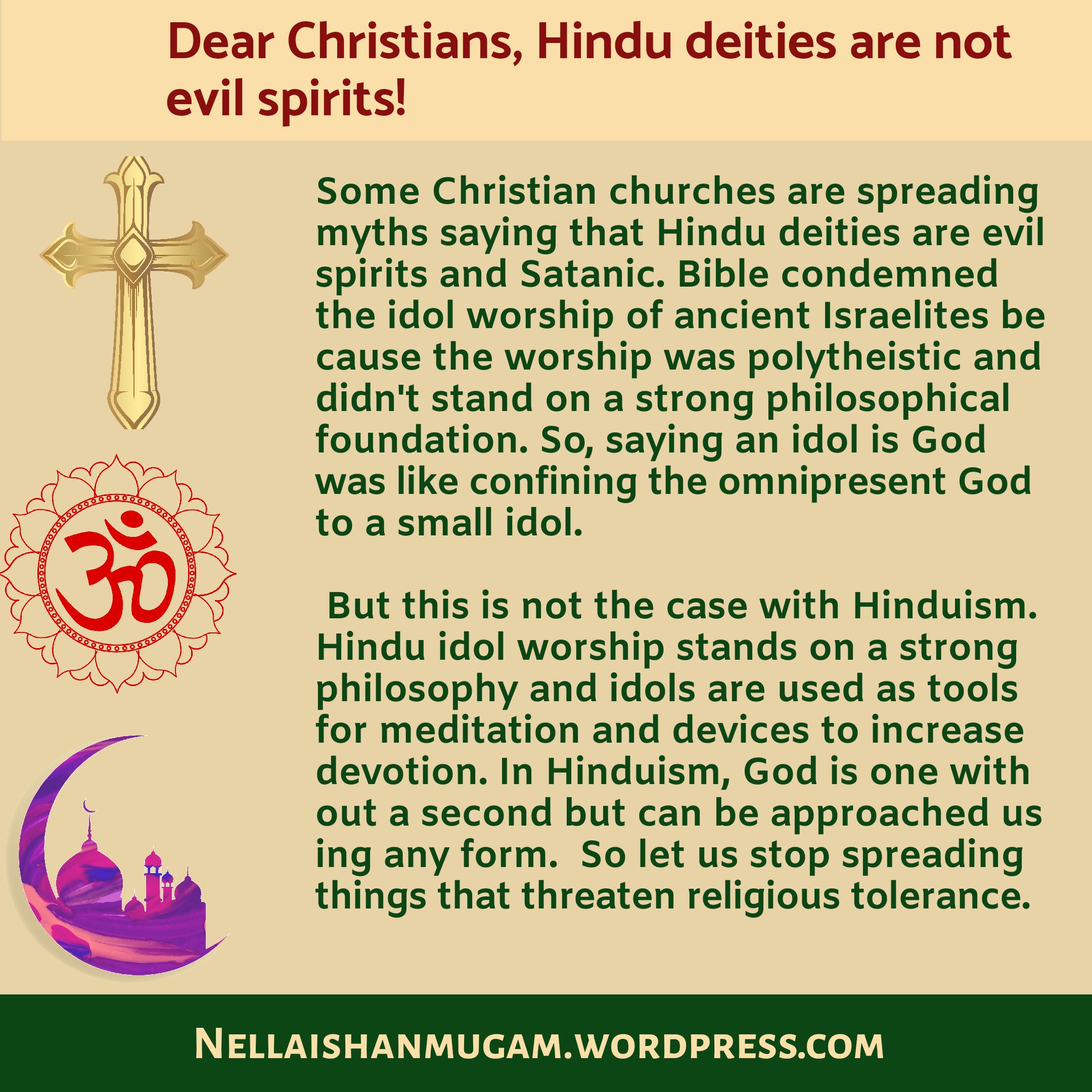 Hindu deities are not evil spirits