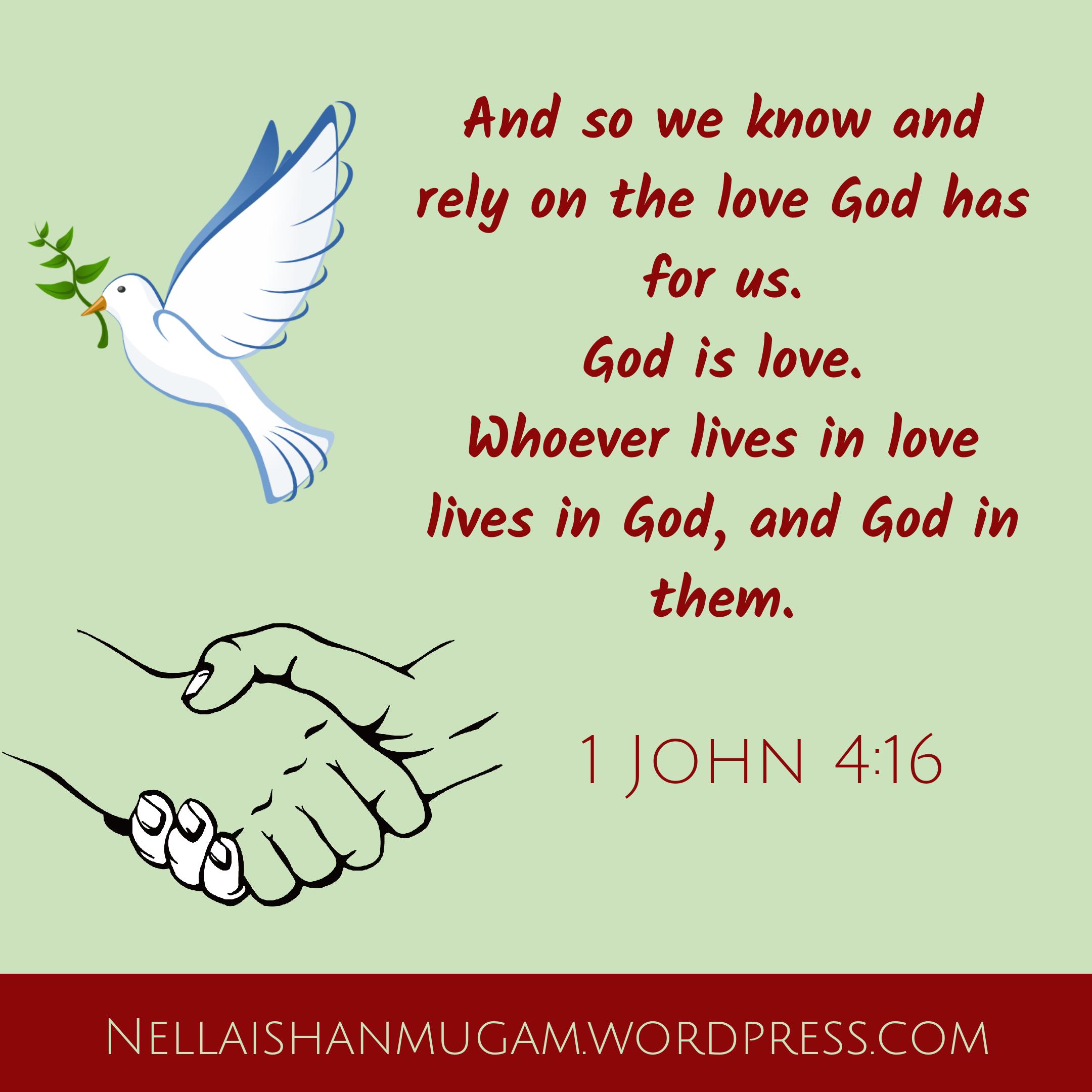 Bible verse regarding love - 1 John 4:16