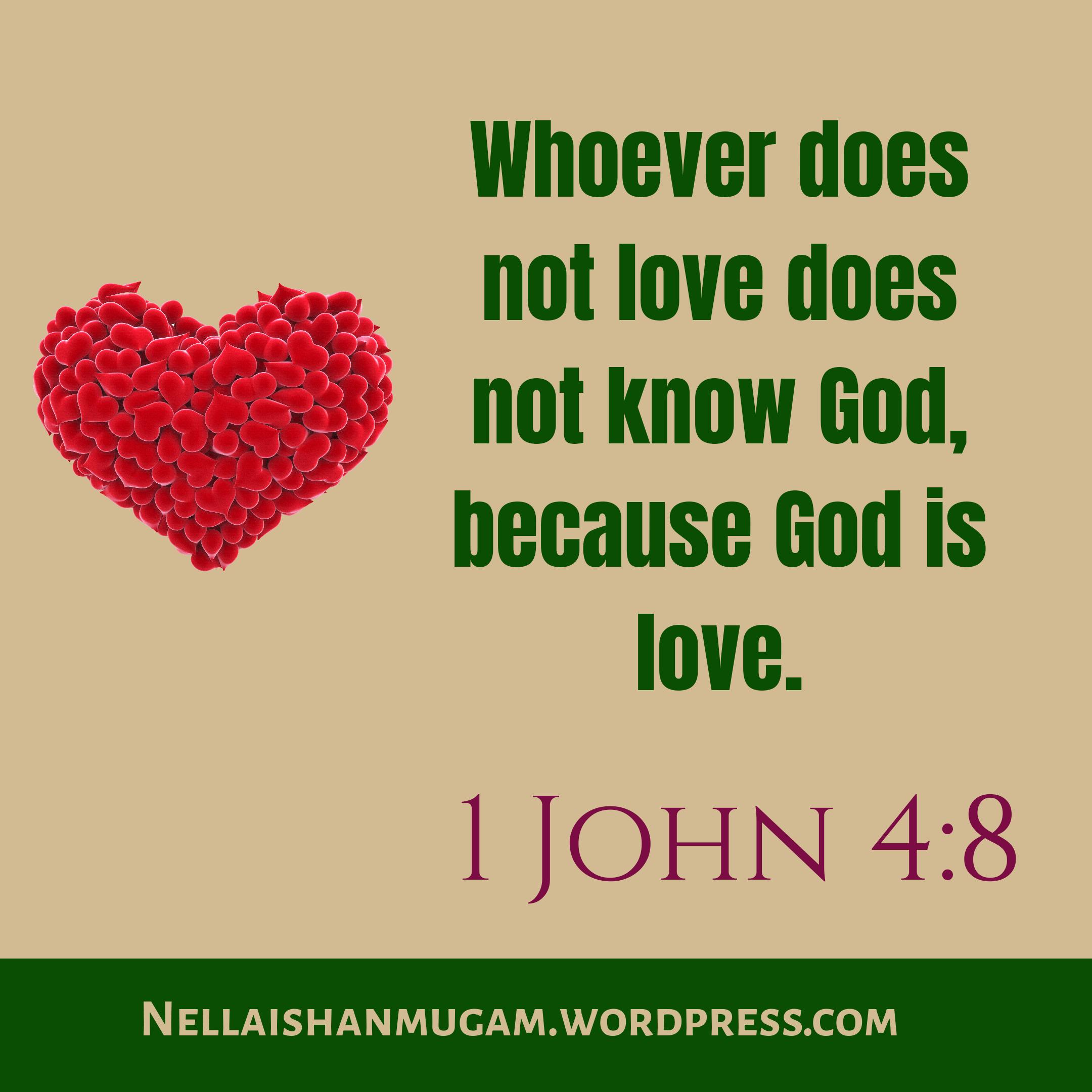 Bible verse regarding love - 1 John 4:8