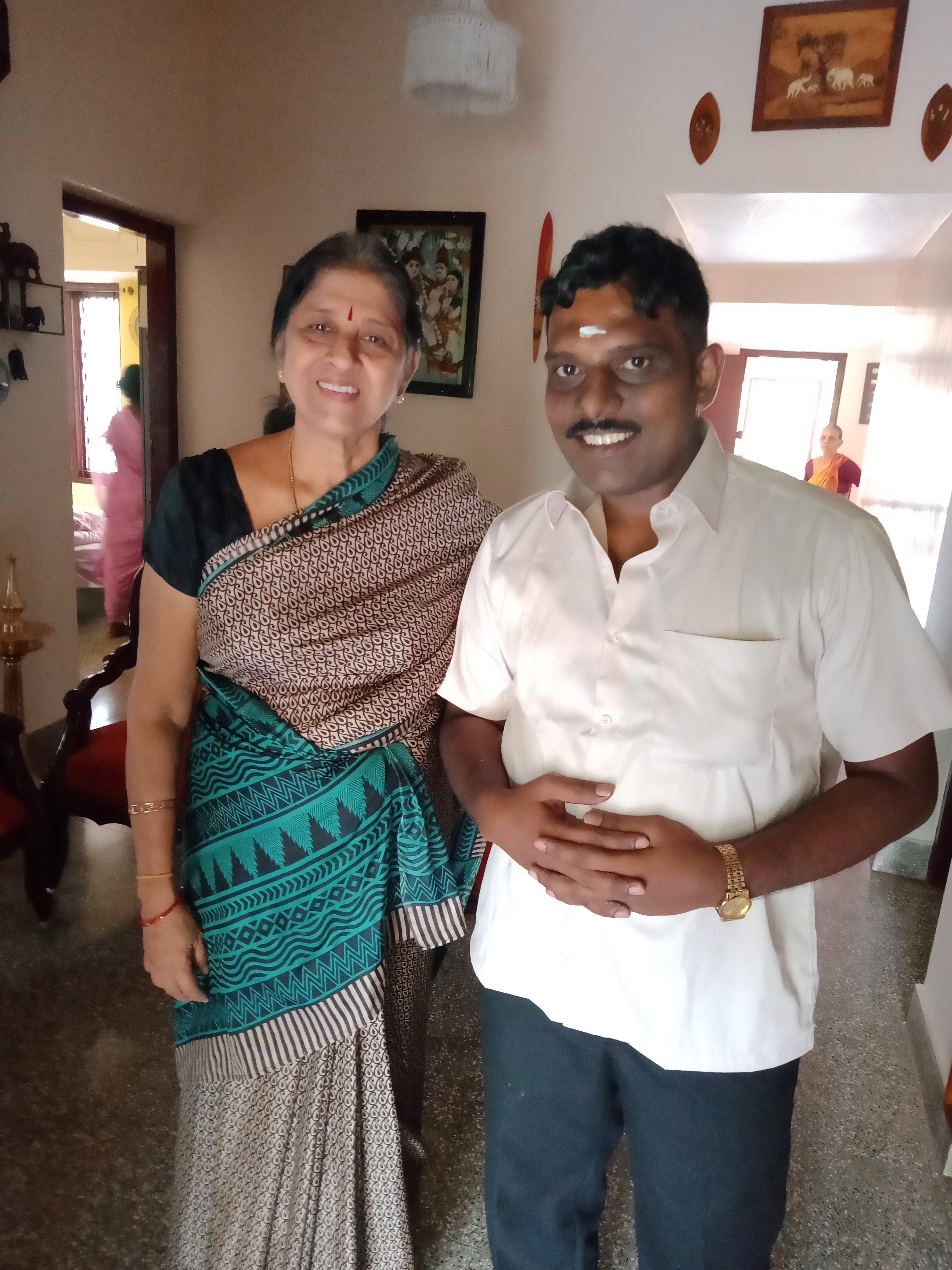 Mrs. Usha Raman with her student Shanmugam P